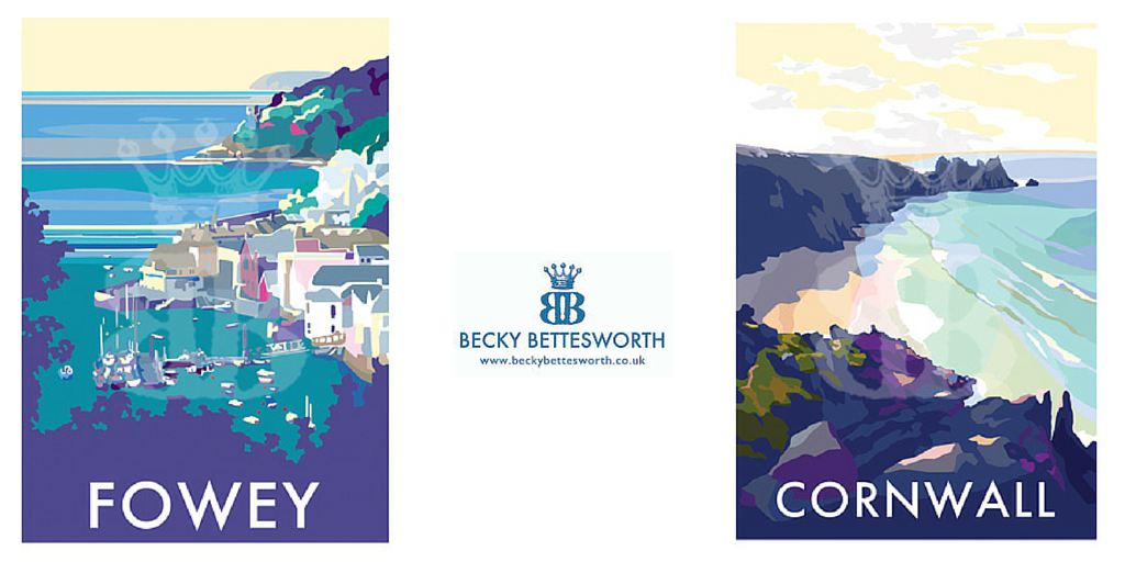 Becky adds 2 new posters of Fowey and Cornwall Beach to her collection