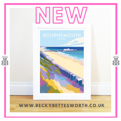NEW BOURNEMOUTH TRAVEL POSTER AND SEASIDE PRINT