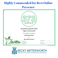 Award for Best Online Presence in the 373 Group Business Awards 2019