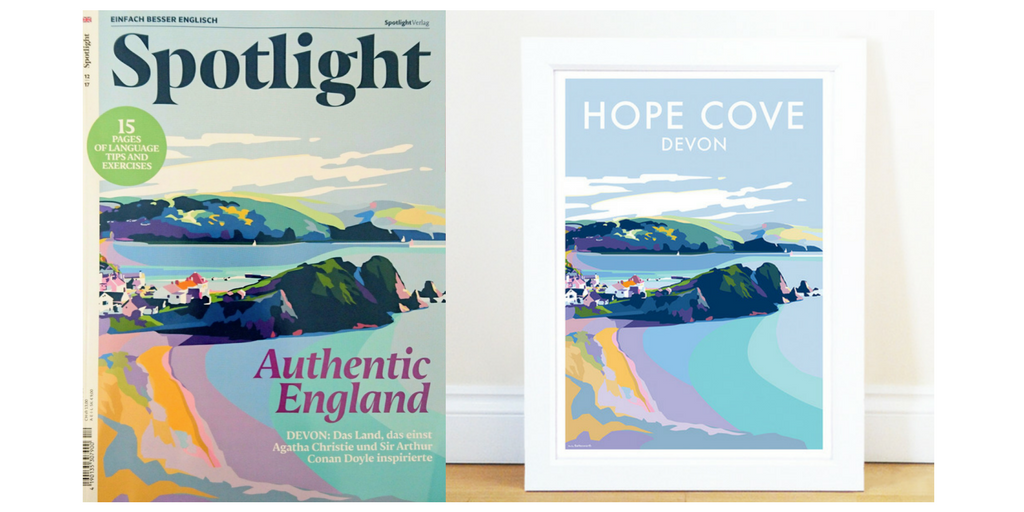 Becky's Hope Cove Devon print on the cover of Spotlight magazine