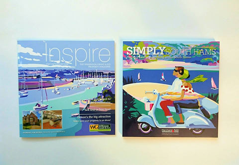 Becky Bettesworth artwork on the cover of Simply South Hams and Inspire magazines