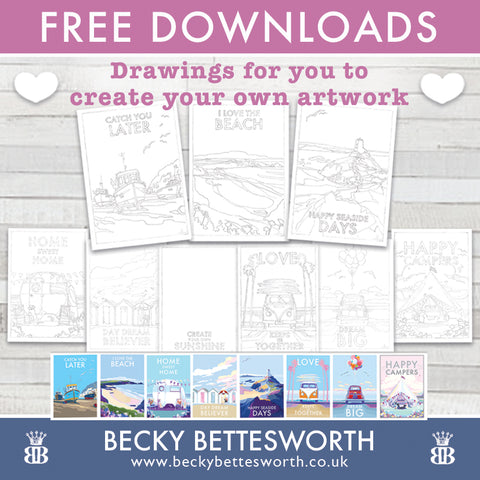 Free Downloads, sketches for you to create your own artwork
