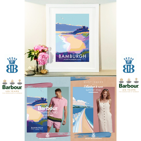 Bamburgh Travel Poster by Becky Bettesworth, commissioned By Barbour UK