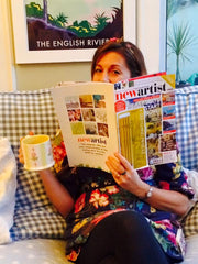 Becky Bettesworth reading New Artist magazine