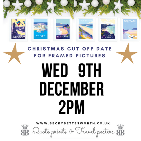 Becky Bettesworth cut off date for framed pictures, December 2020