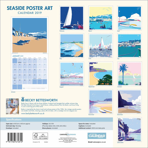Seaside Poster 2019 Calendar Becky Bettesworth