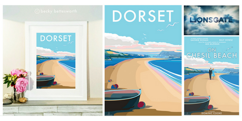 NEW DORSET travel poster and seaside print by Becky Bettesworth