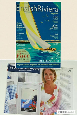 Becky Bettesworth on the cover of The English Riviera Magazine