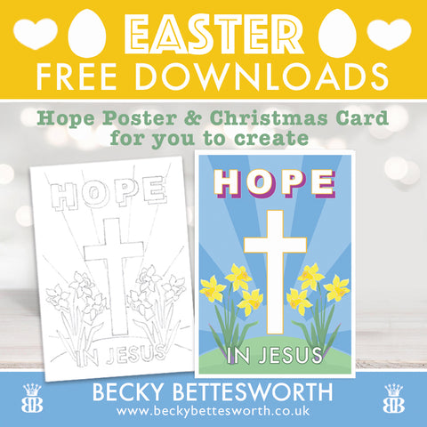 Easter Hope Free Poster Download and Colouring in Sketch