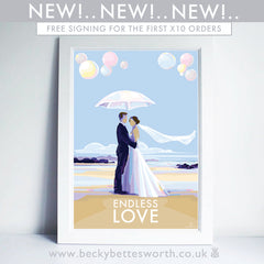 NEW RELEASE 'ENDLESS LOVE' vintage style travel poster by Devon Artist Becky Bettesworth