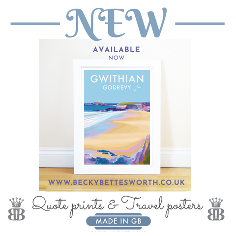 NEW GWITHIAN / GODREVY TRAVEL POSTER & PRINT