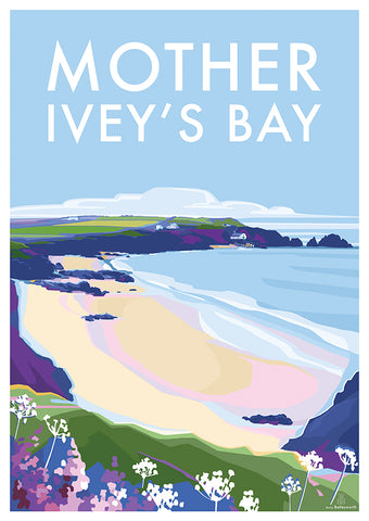 Mother Ivey's Bay vintage style travel poster and print by Becky Bettesworth