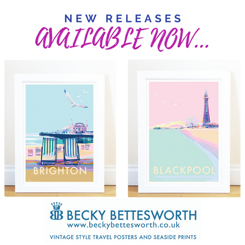 New Release Vintage Style Seaside Print and Travel Poster Brighton and Blackpool