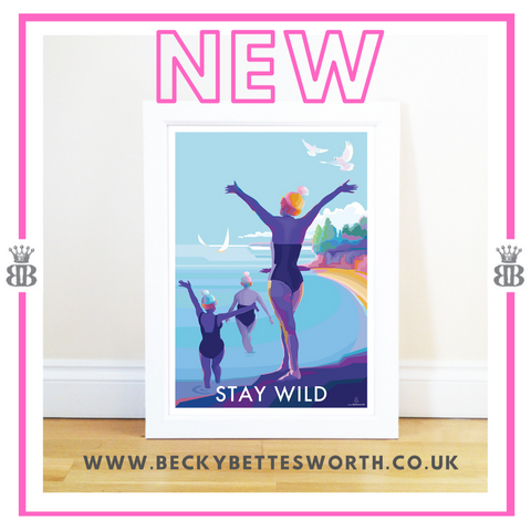 Stay Wild Vintage Style Retro Motivational Quote Poster and Print