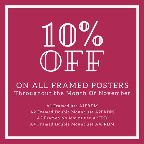 10% off all Framed Retro Quote, Seaside Print and Travel Posters Becky Bettesworth