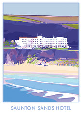 Saunton Sands Hotel, North Devon vintage style travel poster