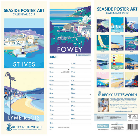 Becky Bettesworth 2019 Seaside Poster Art Slimline Calendar