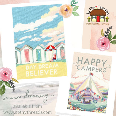 Bothy Threads Becky Bettesworth Cross Stitch Launch Happy Campers Day Dream Believer
