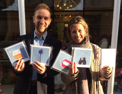Becky Bettesworth gives cards to THHN Charity
