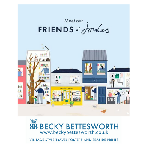 Friends of Joules - Becky Bettesworth Vintage Style Travel Posters, Seaside Prints, Retro Quote prints