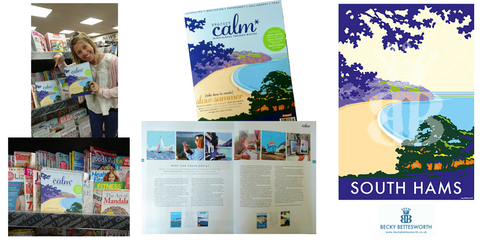 Becky's South Hams picture on the cover of Project Calm magazine