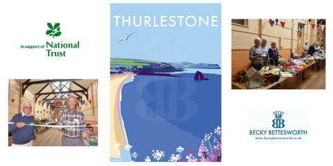 Becky Bettesworth donates a Thurlestone print for the National Trust South Hams Centre Summer Fair