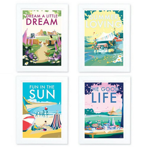 Quintessentially English Collection Set of Four A4 Prints by Becky Bettesworth