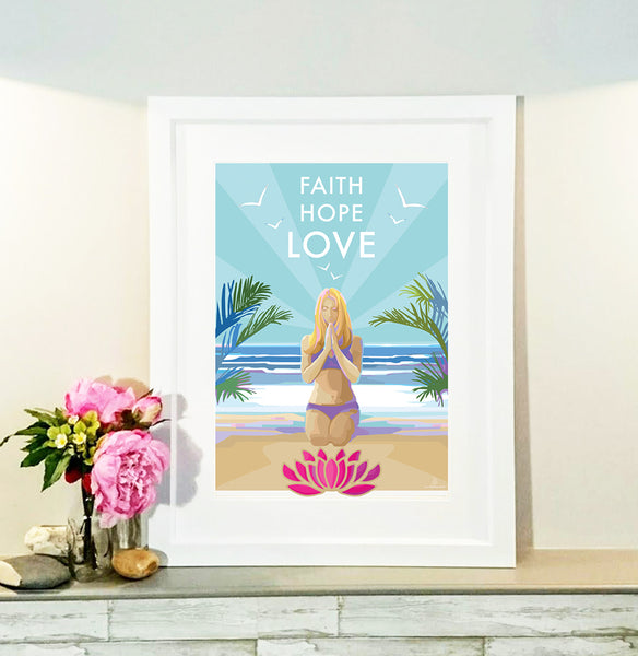 'Faith Hope Love' mindfulness, yoga vintage style retro quote poster by Becky Bettesworth