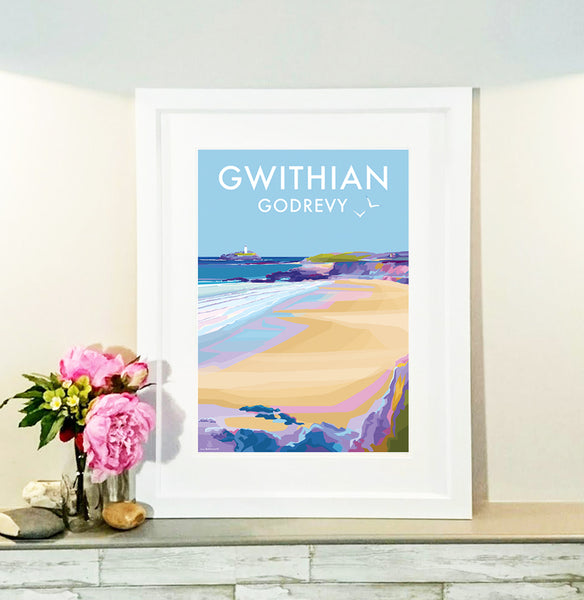 Gwithian and Godrevy - Travel Poster and Seaside Print by Becky Bettesworth