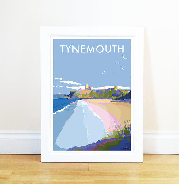 Tynemouth Vintage Style Travel Poster and Seaside print by Becky Bettesworth