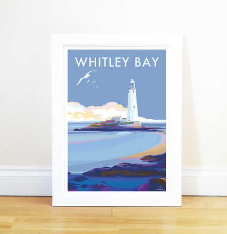 Whitley Bay Vintage Style Travel Poster and Seaside Print by Becky Bettesworth