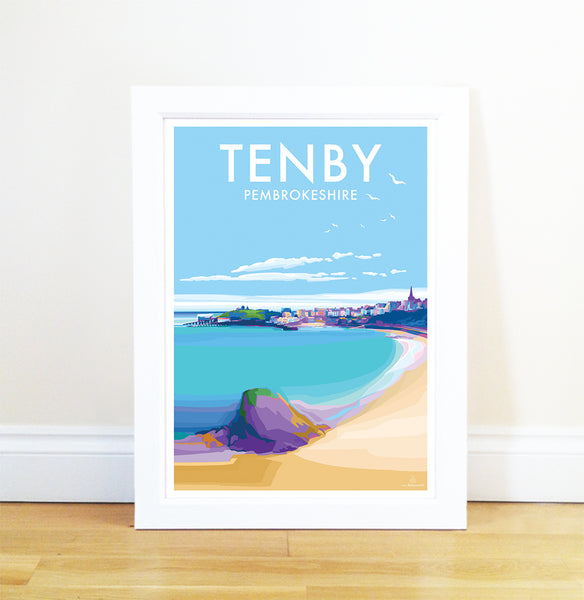 Tenby Travel Poster and Seaside print by Becky Bettesworth
