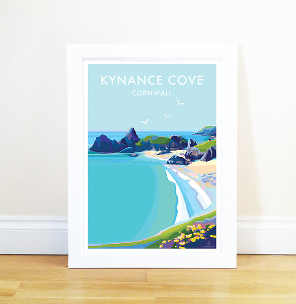 Kynance Cove travel poster and seaside print by Becky Bettesworth