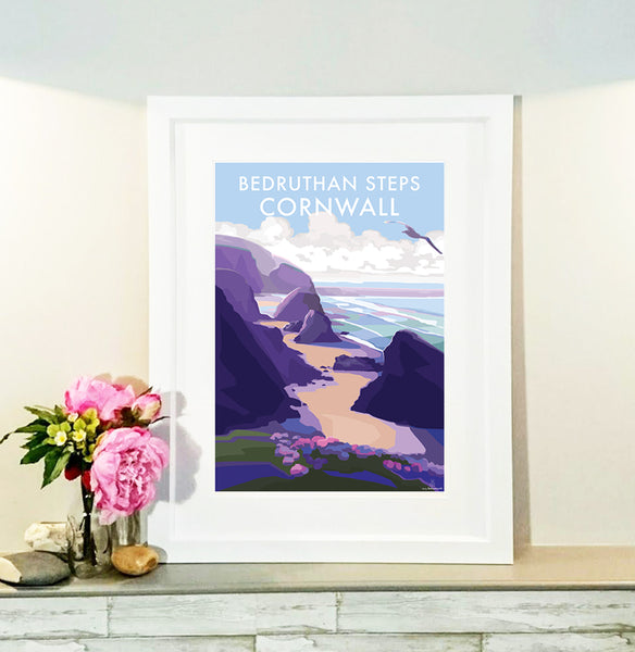 Bedruthan Steps travel poster and seaside print by Becky Bettesworth