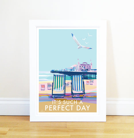 It's Such a Perfect Day vintage style retro quote poster by Becky Bettesworth