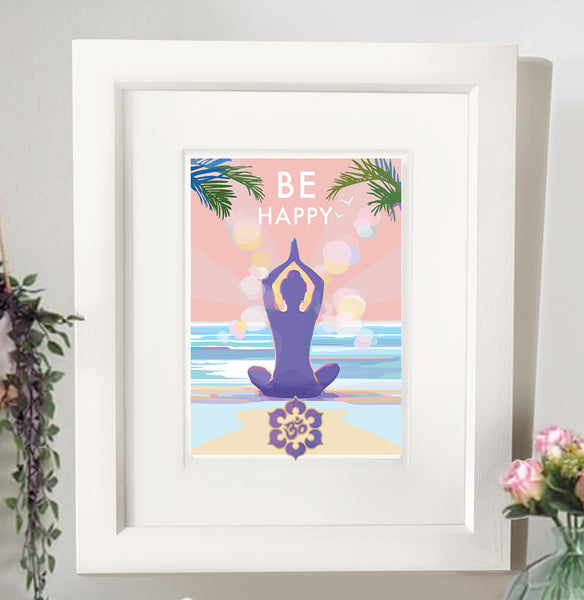 'Be Happy' mindfulness, yoga vintage style retro quote poster by Becky Bettesworth