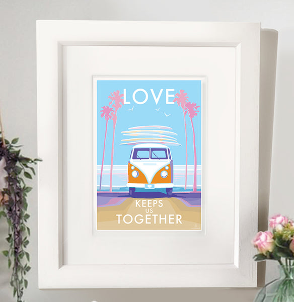 Love Keeps us Together vintage style retro quote poster by Becky Bettesworth