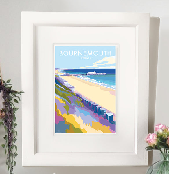 Bournemouth Vintage Style Travel Poster and Seaside print by Becky Bettesworth