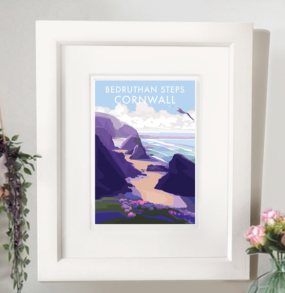 Bedruthan Steps - Travel Poster and Seaside Print by Becky Bettesworth