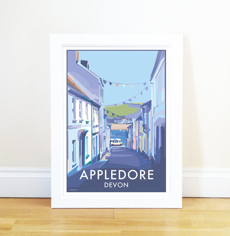 Appledore travel poster and seaside print by Becky Bettesworth