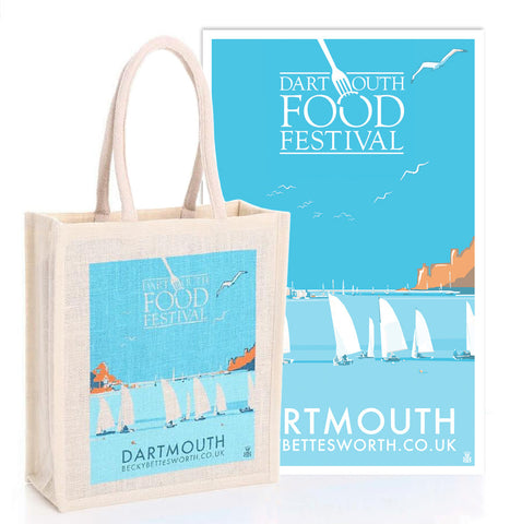 Dartmouth Food Festival Jute Bag and T-Towel Set by Becky Bettesworth