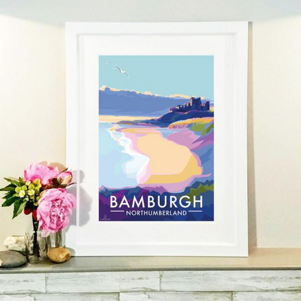 Bamburgh travel poster and seaside print by Becky Bettesworth