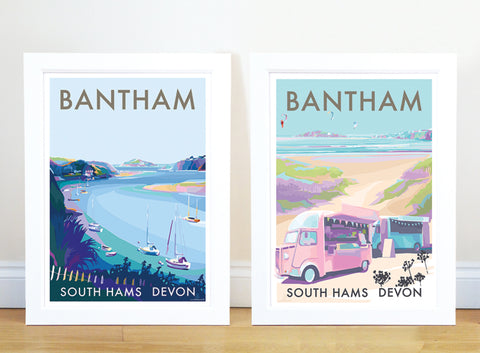 Bantham Buses travel poster and seaside print by Becky Bettesworth