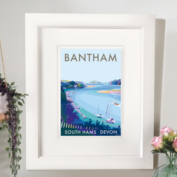 Bantham River travel poster and seaside print by Becky Bettesworth