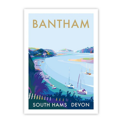 Bantham River travel poster and seaside print by Becky Bettesworth - Limited Edition AO Size