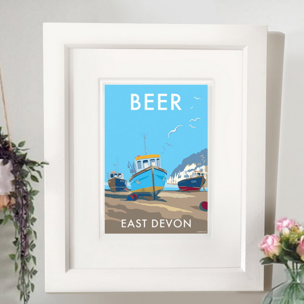 Beer travel poster and seaside print by Becky Bettesworth
