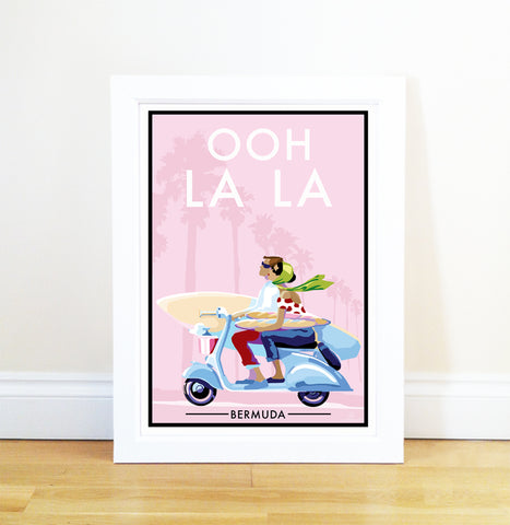 Bermuda Ooh La La - Travel Poster and Seaside Print by Becky Bettesworth