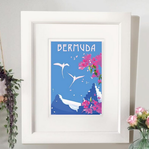 Bermuda blossom travel poster and seaside print by Becky Bettesworth