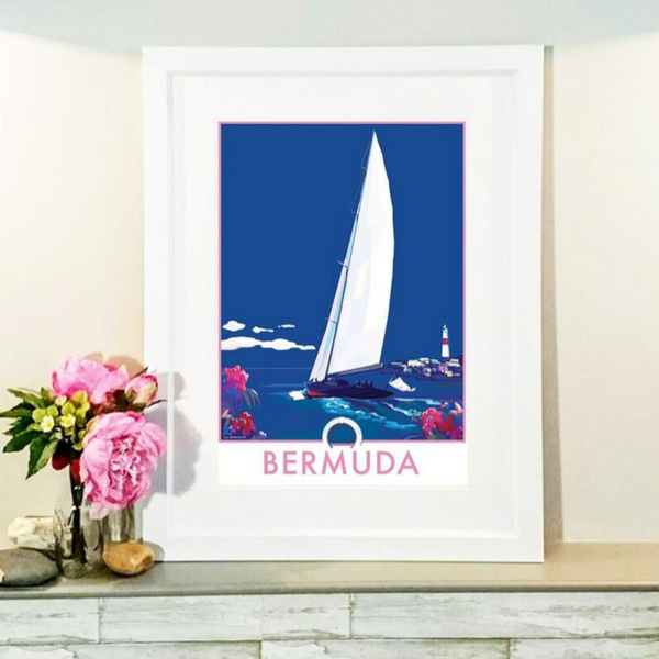 Bermuda Sailing Boat travel poster and seaside print by Becky Bettesworth