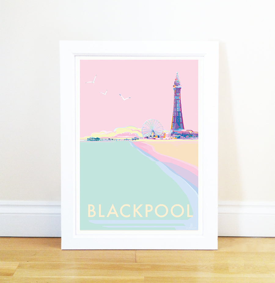 Blackpool travel poster and seaside print by Becky Bettesworth